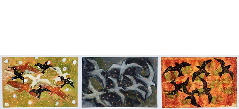 Avian mixed media painting triptych by portland me artist Anna Dibble