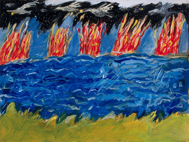 Five Fires 9x12 Acrylic on Yupo by Anna Dibble